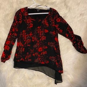 Asymmetrical blouse red and black